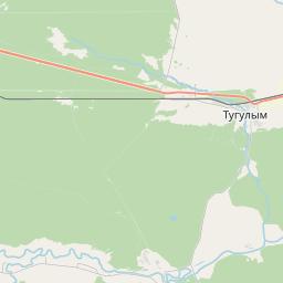Карта поселка Тугулыма в Свердловской области с