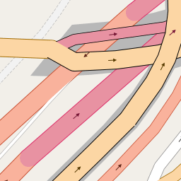bridges over bridges in OpenStreetMap default style:  northern portal of Milchbucktunnel